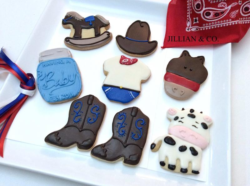 """ Luke Ray Baby Shower ""  a Little Cowboy! Custom Chocolate Decorated Butter Cookies!"